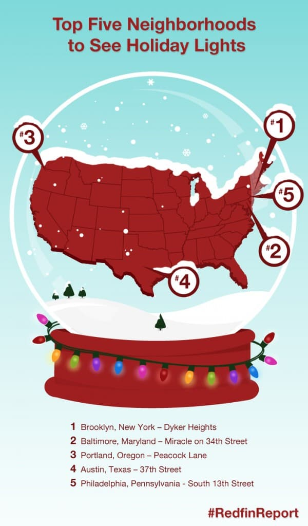 Redfin Top Five Neighborhoods to See Holiday Lights