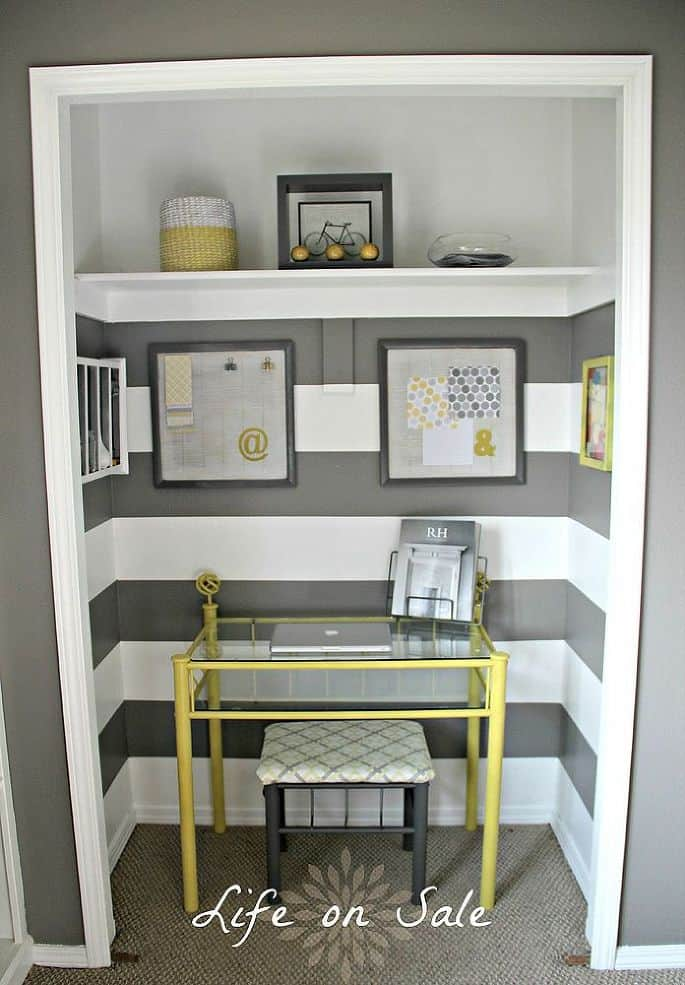 Work Space in a Closet via Hometalker Shelly @Life on Sale