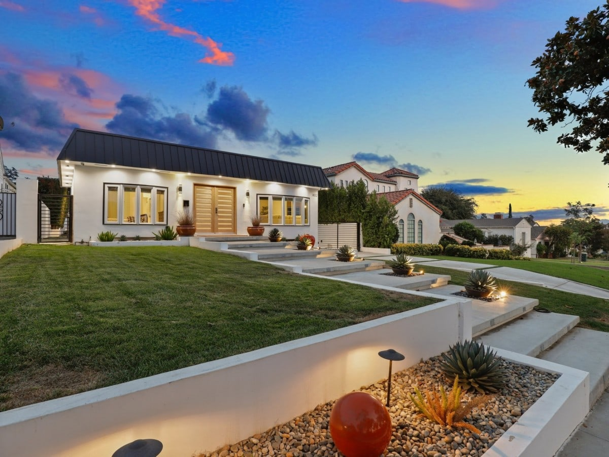 front-yard-with-lights-at-sunset