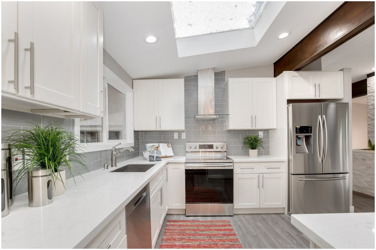 bright clean kitchen with white cabinets