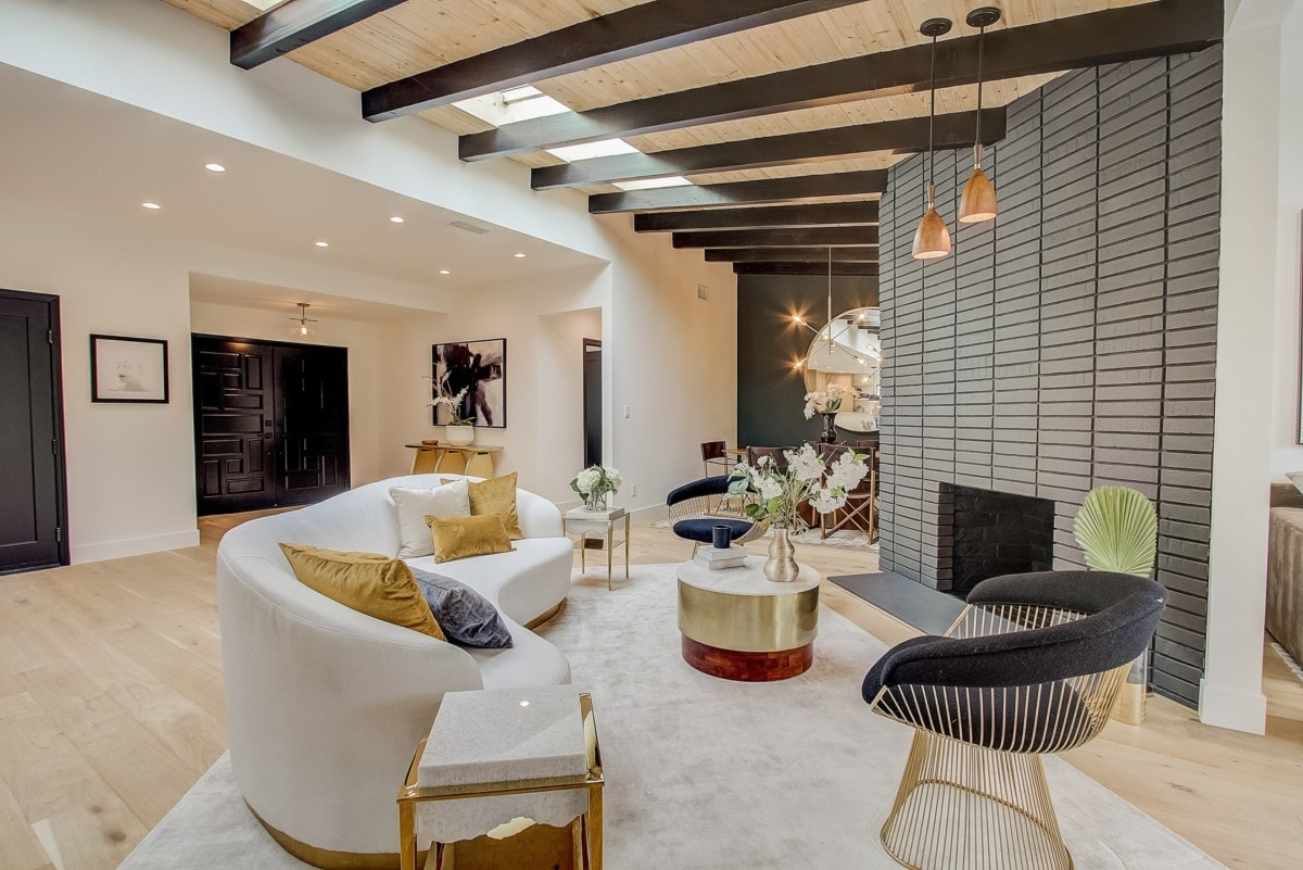 stylish interior design living room white couch black accents