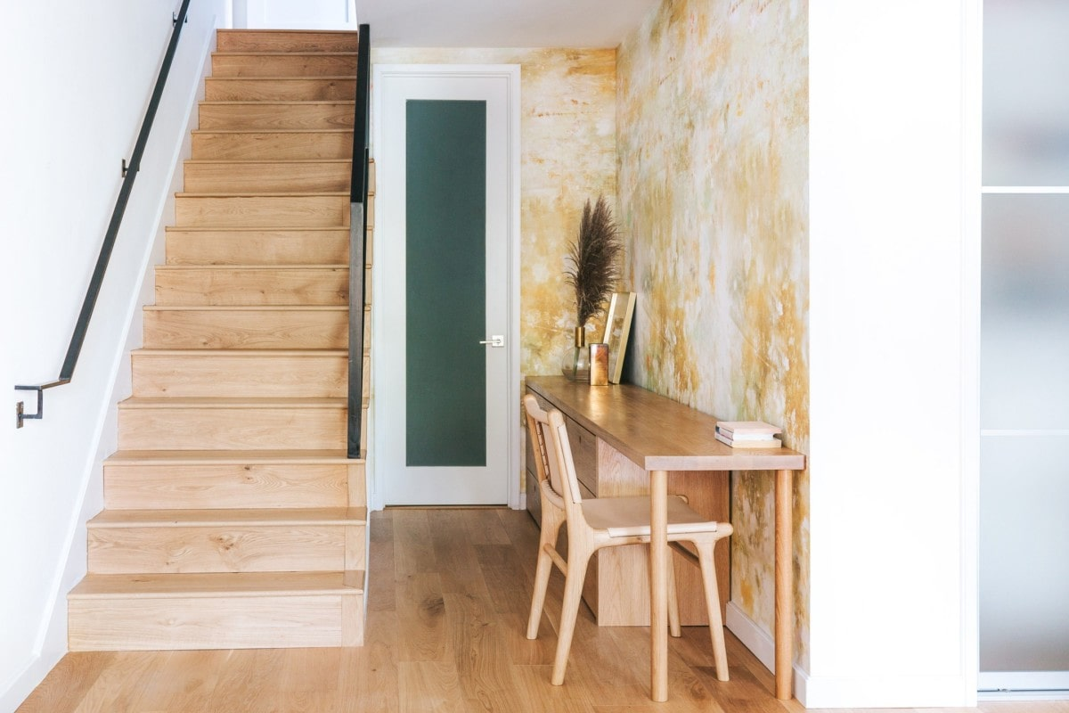 Unique wallpaper idea in entryway with yellow and white wallpaper