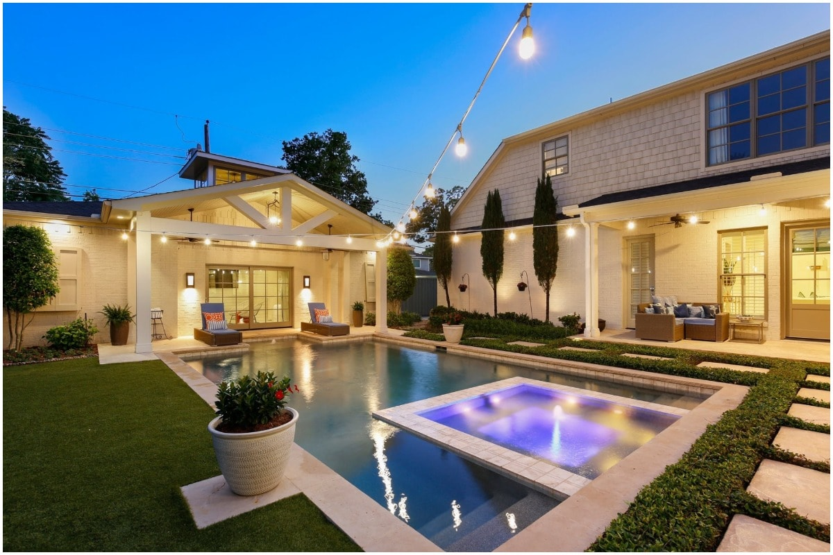 A backyard pool outdoor living space